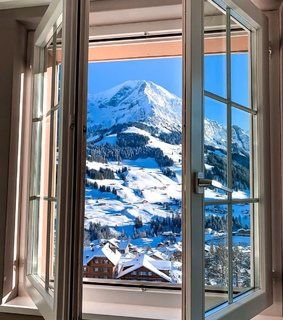 snowing, window and view