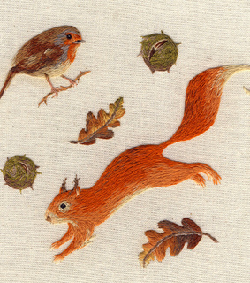 embroidery, red squirrel and nature