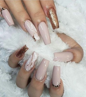 manicure, nails and rose gold