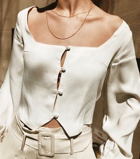 top, silk and button