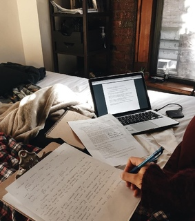 notes, book and room