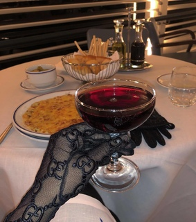 gloves, red wine and details