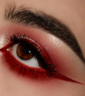 red, makeup and eyes