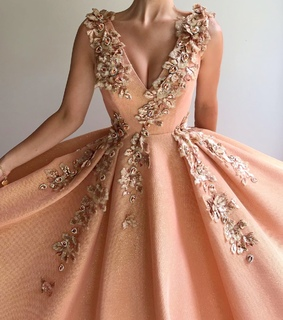 embroidery, peachy and ballgown