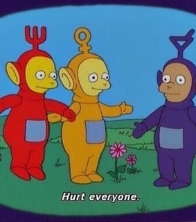 simpsons, clowncore and teletubbies