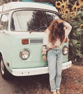 sunflowers, retro and vw bus