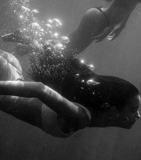 ocean, dive and black and white