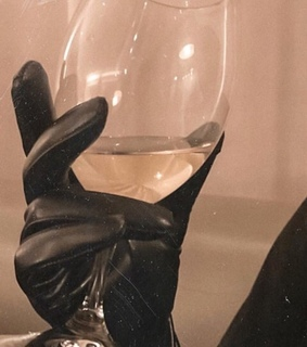 girl, glass and gloves