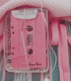 peachy pink, cassette and pink