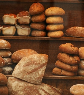 food, french baguette and bakery shop window