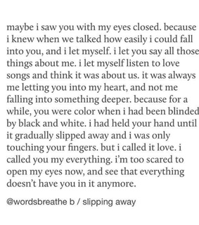 falling in love, holding on and scared