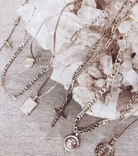 necklaces, gold and charms
