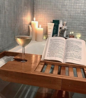 read, candles and wine