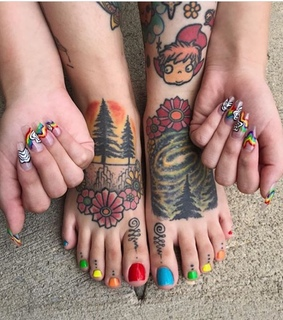 rainbow nails, hand tattoos and acrylic nails