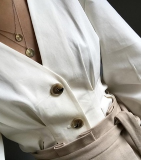 top, khaki and chic