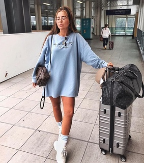 sweater dress, airport and fashion