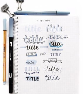 bullet journal, headers and title ideas