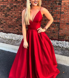 red prom dress, v neck prom dress and prom dress v neck