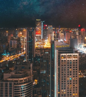 buildings, citylights and shanghai