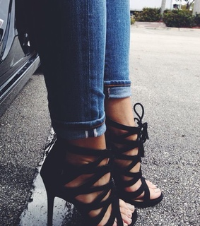 black, cute and shoes