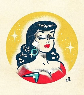 illustration, pinup and 50s