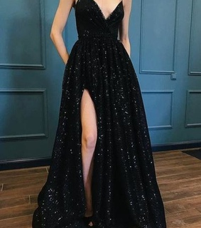 black prom dresses, sequins prom dresses and aline prom dresses