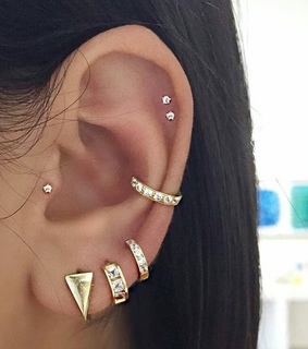 gold, earrings and helix