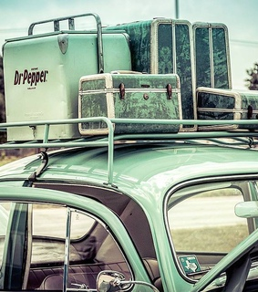 hippies, dr pepper cooler green and luggage