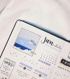 january, bullet journal and weekly spread
