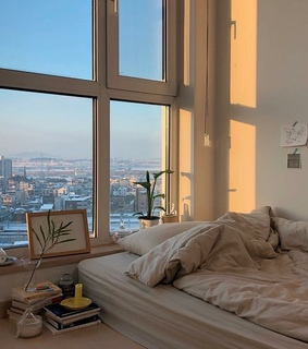 interior design, bedroom and city view