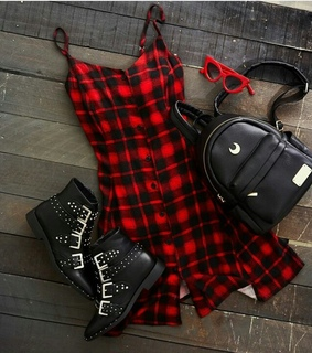plaid, backpack and shoes
