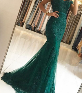mermaid prom dresses and emerald green prom dress