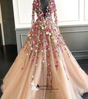 floral, lace prom dress and fashion