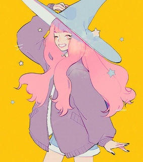 witch hat, stare and wink