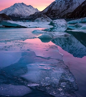 lake, pinks and blues and new zealand