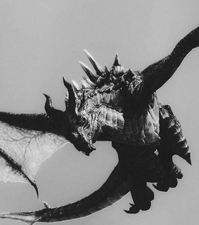 mythical, black and white and dragon