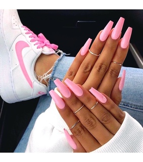 barbie pink, air force ones and gel nails