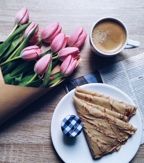 coffee, pretty and tulips