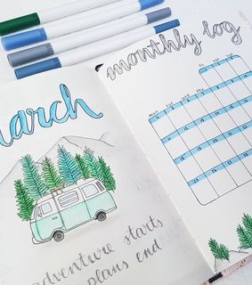 march, bujo and forest