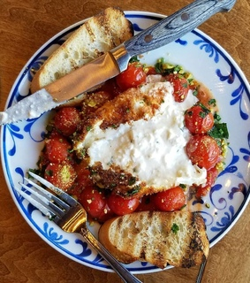 fried burrata cheese, roast tomato and balsamic