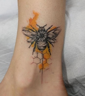 bee, honeycomb bee tattoo and sketch tattoo