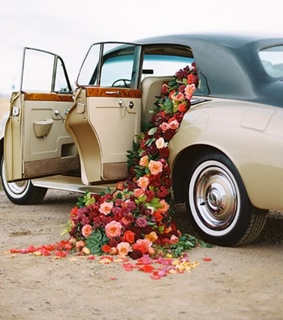 red, vintage and flowers