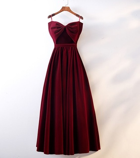 floor length long, suede and bow