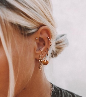 gold, tiny tattoo and piercing