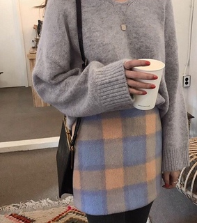 blue plaid skirt, oversized and streetwear