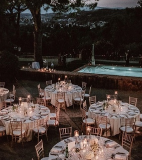 pool, wedding decorations and banquet
