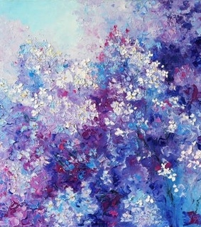 beautiful, oil painting and purple lilacs