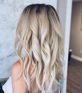 backdrop, blonde and curls