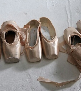 pointe shoes, satin and vintage