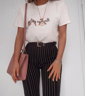 white shirt, striped pants and fashion